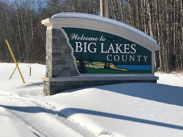 The Big Lakes County sign
